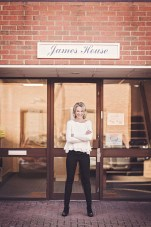 Angela Spang outside JUNE MEDICALs second office in Marlow