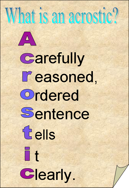 Image result for acrostics
