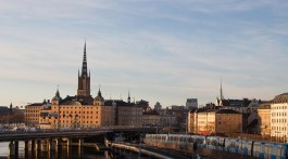 view of stockholm's colorful buildings at sunset