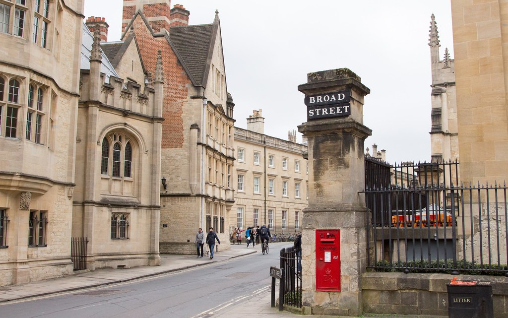 walking around the streets of Oxford, England and enjoying the old buildings.