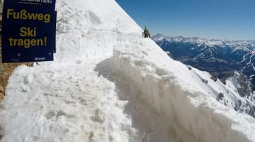 using a via ferrata in austria to get to a ski route