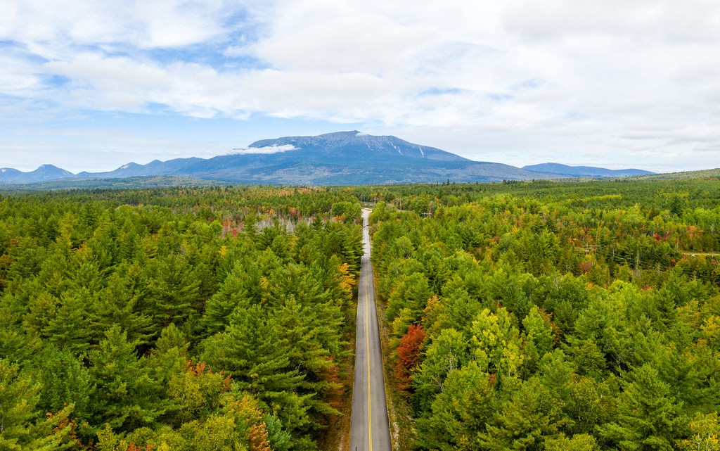 Aerial photo before entering Baxter State Park with Katahdin on the horizon.