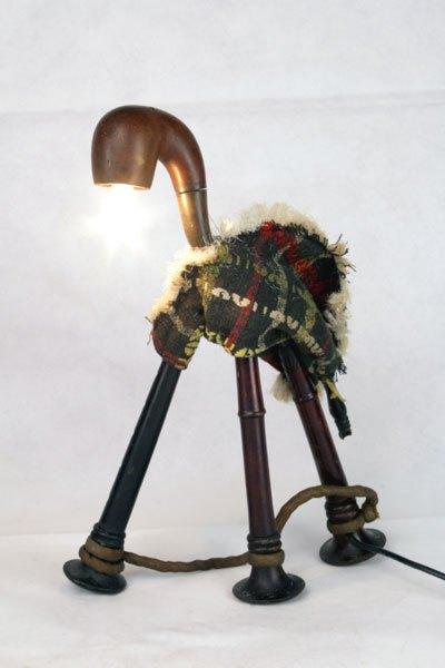 Cornepipe. Sculpture Animal écossais lumineux.