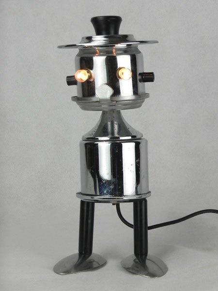 Cuillafe. Sculpture filtres à café en métal chromé, service à café individuel: tasse, filtre, cuillères, couvercle....