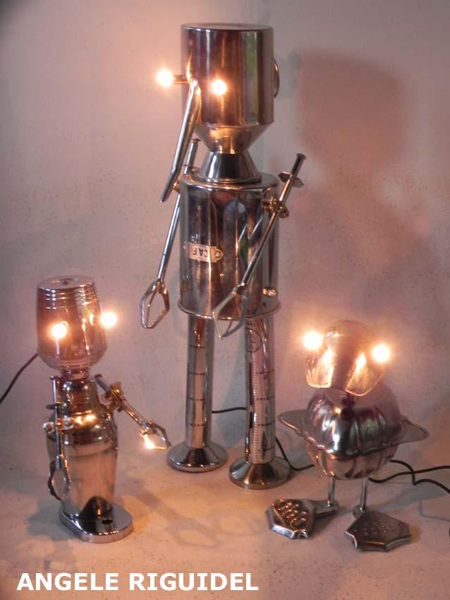 Sculpture objet détournés, robots, inox alimentaire, Récup, recyclage, détournement, assemblage