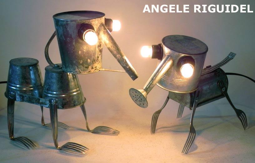animaux crés avec arrosoir et pot de jardin en métal. Lampes