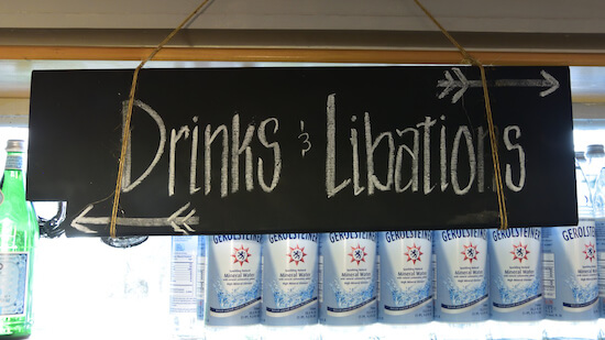 Drinks Libations sign