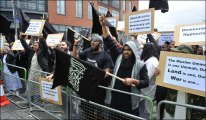 Muslim extremists bombarded our soldiers with abuse at a homecoming parade today