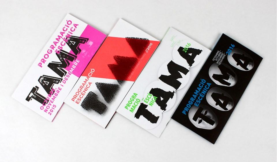 TAMA Aldaia diseño gráfico diseño experimental tipografía programación artes escénicas cultura teatro comunicación gráfica deconstrucción hilo hilar folleto tinta especial offset
