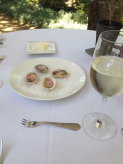 Oysters with pickled shallots, and rosé wine, Domaine Chandon–Napa, CA