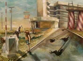 "Pirates' World, oil on wood, 30"" x 40"""