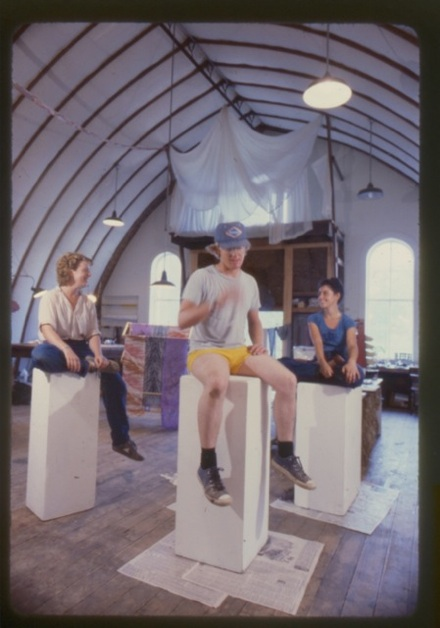 1981, Barn Loft as Artists' Studio and Community Center. On pedestals, left to right, Lisa Stone, Farmer John, Isa Jacoby