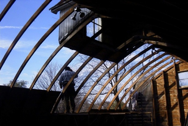 11) 2003,  Corn Crib interior, with Cupola at top of frame
