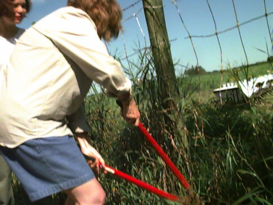 1999: Breakfast on the new land awaits the shareholder investors, once the fence is cut. Lisa Hish observes while Cindy Duda cuts the fence.