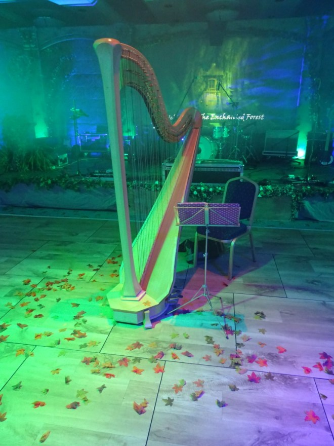 harp in the enchanted forest. Alton Towers.