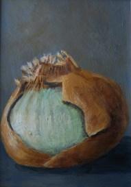 """White Onion, Week 1"" 5x7 Acrylic on Panel"