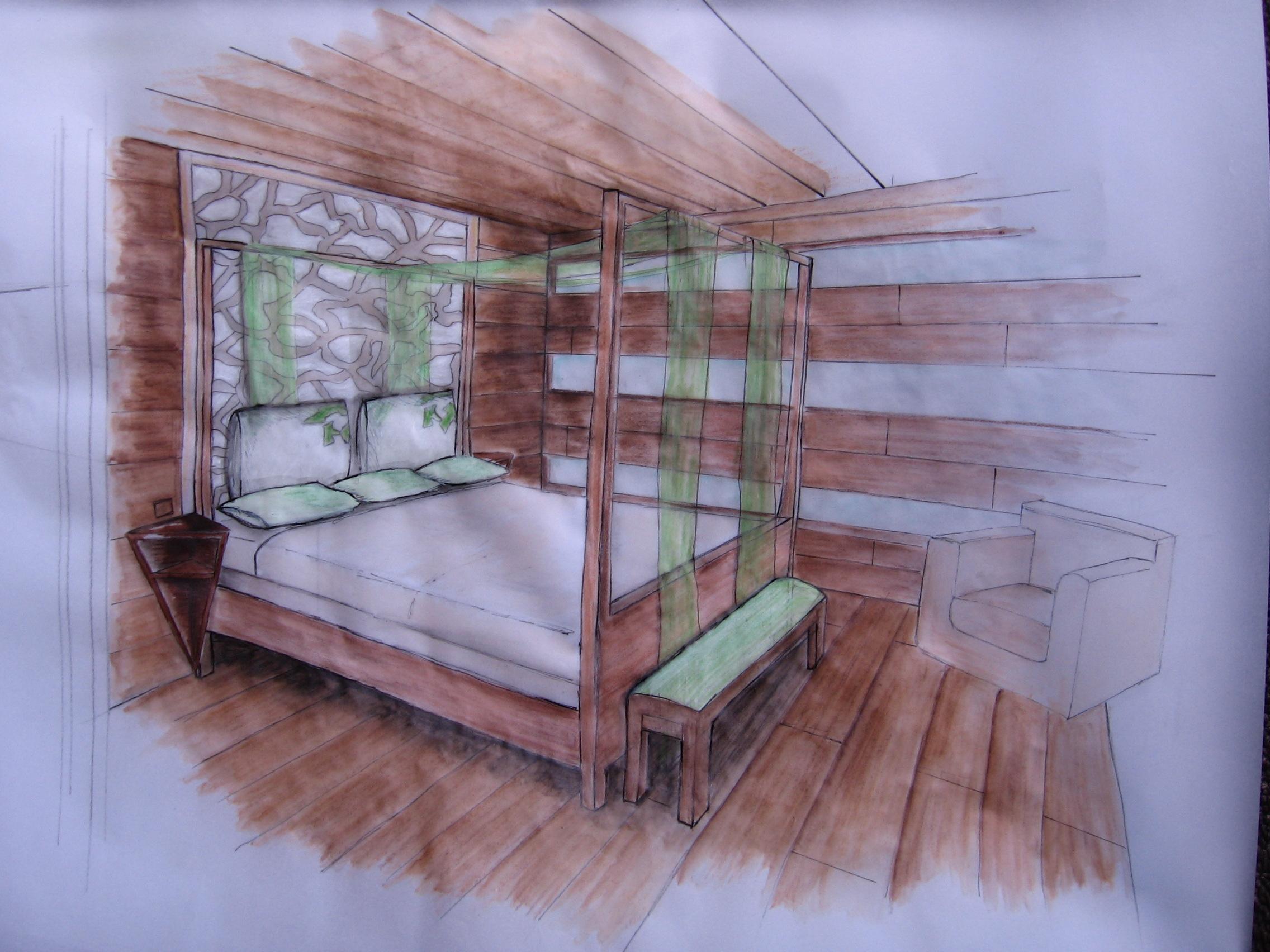 Comment dessiner une chambre a coucher en perspective
