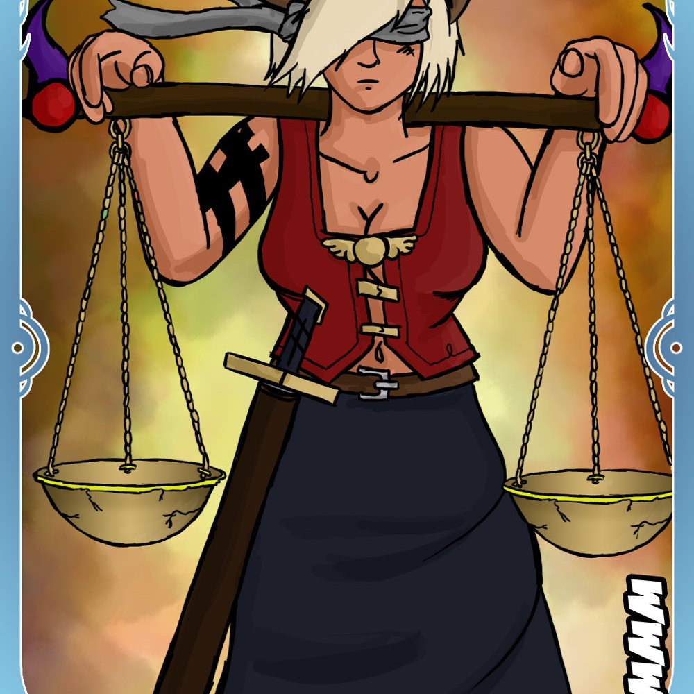 Digital Art - Dom from Fera as the Justice Tarot