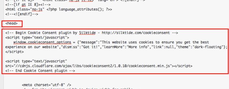 codigo de aviso cookies en wordpress
