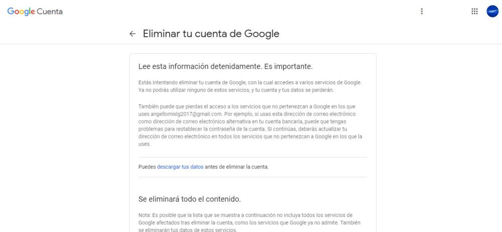 eliminar cuenta google 8 min