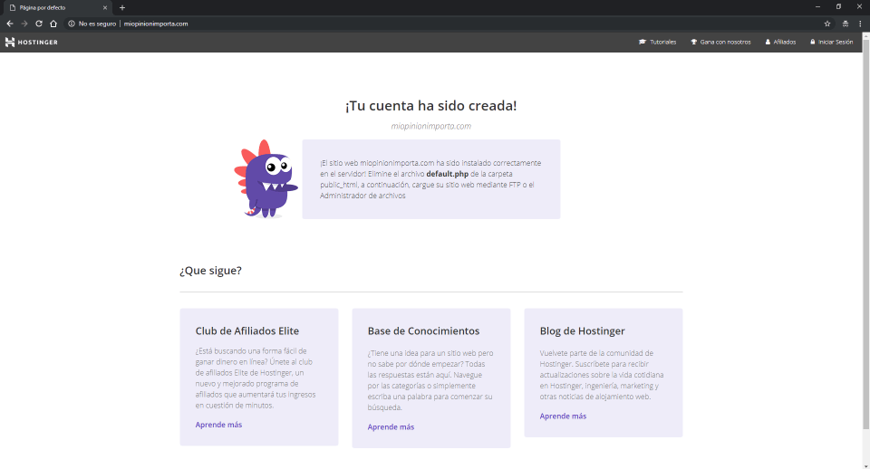 sitio web creado por hostinger min