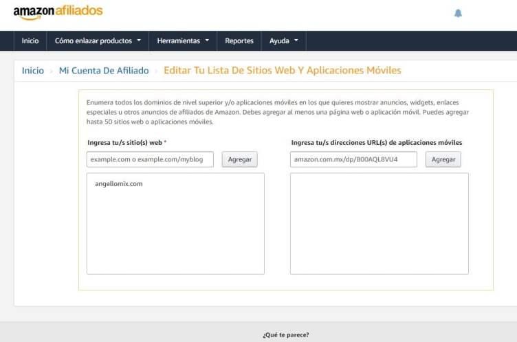 afiliados amazon agregar mas sitios web agregar nuevos