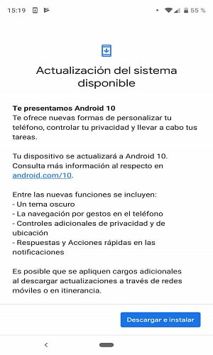 actializando la ultima version de androis 10 1