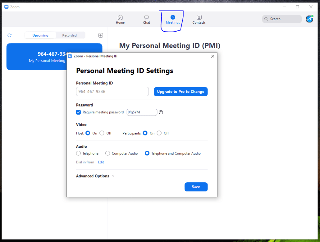 creando meetings en zoom