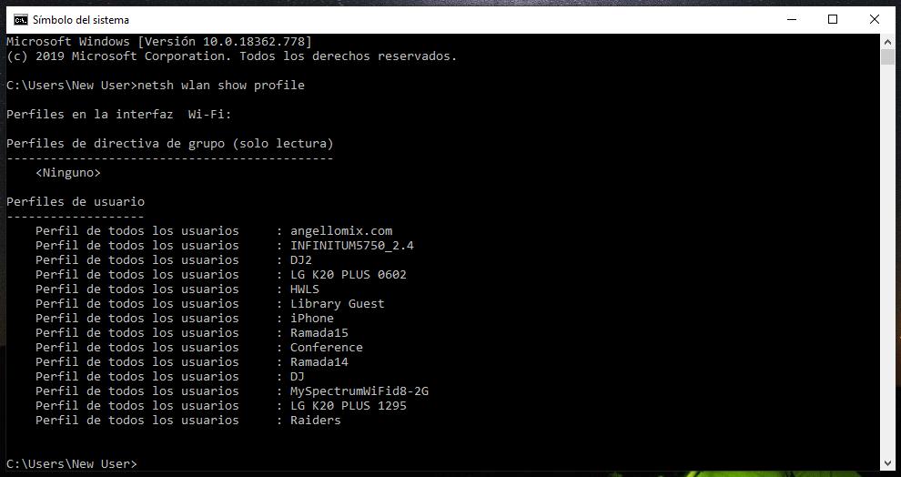 ver contraseñas wifi por medio del cmd en windows 10