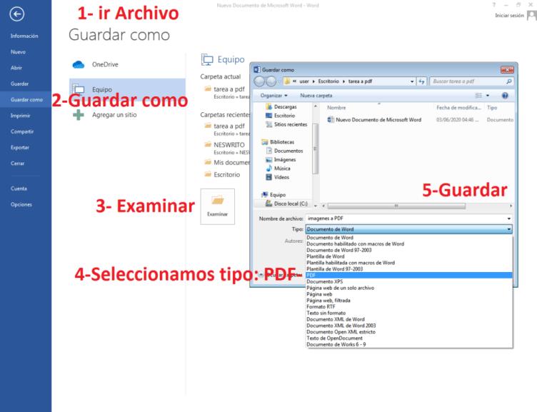 pasos para convertir fotos en word a PDF
