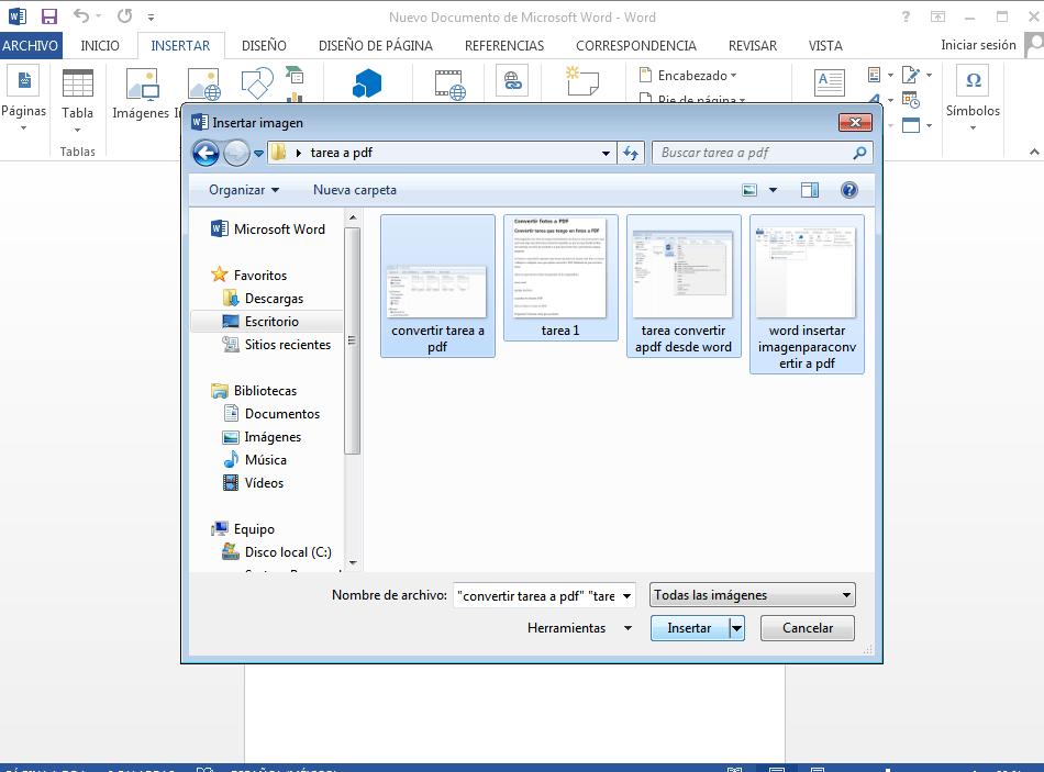 seleccionamos todas las fotos quequeremos convertir en PDF y las insertamos al documento