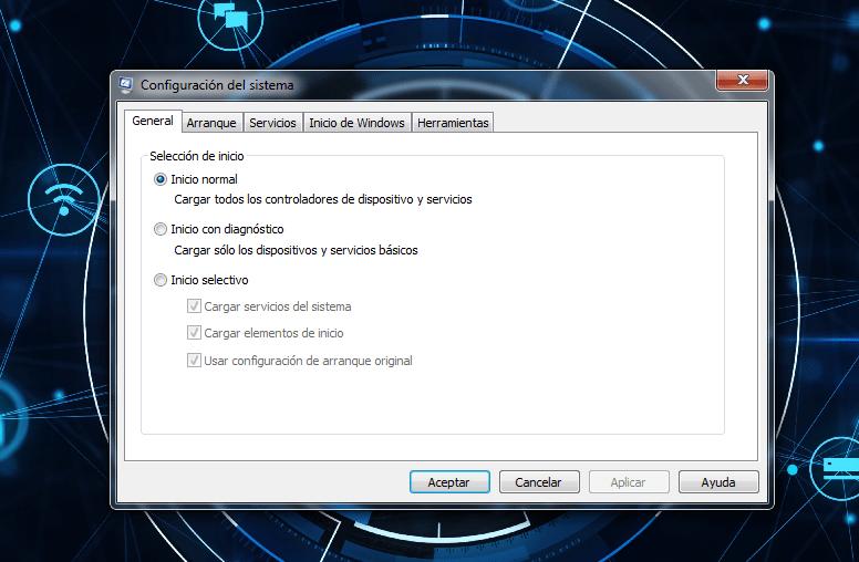 configuración del sistema en windows 10