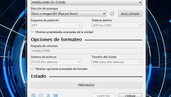 configuración programa Rufus 3 par crear una imagen iso en una USB
