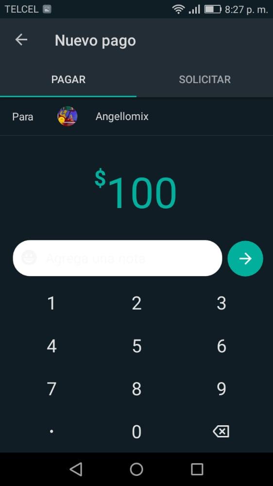 solicitar o enviar un pago por whatsapp