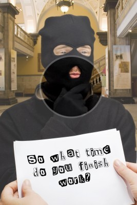 masked man handing a girl a note to ask her out image