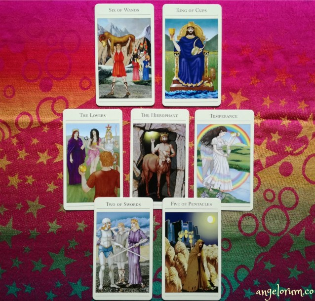 four queens tarot spread sample reading with the new mythic tarot