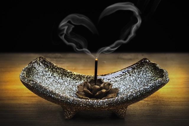 heart-shaped smoke and incense stick