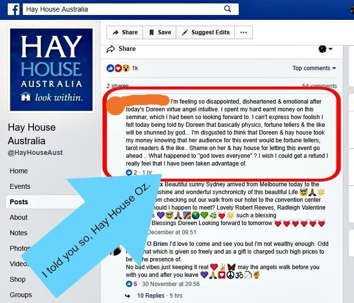 Doreen Virtue Angel Intuitive Australia 3 December 2017 Commented Deleted by Hay House Detestable to the Lord