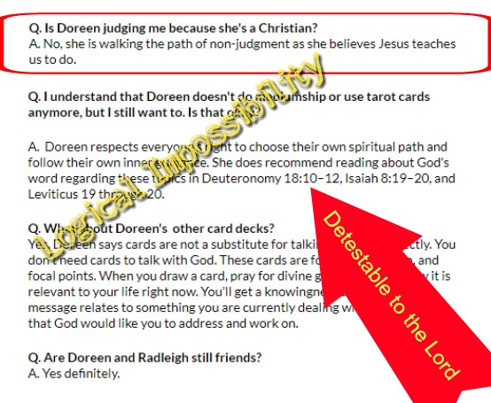 FAQ quotes from Doreen Virtue's Angel Therapy site Tarot readers are detestable to the Lord