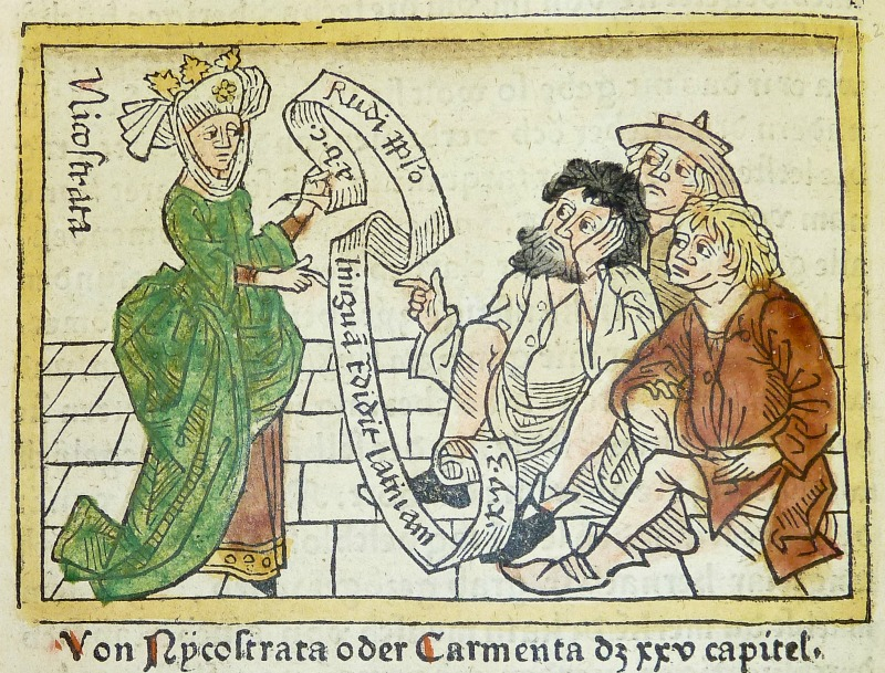 German woodcut of Carmenta aka Nicostrata