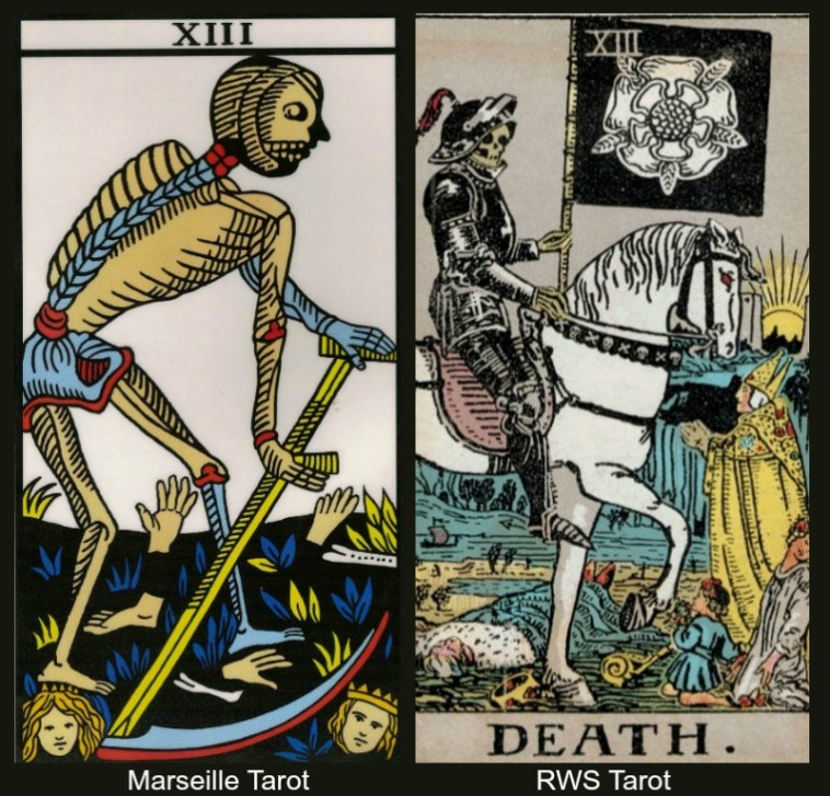 The Tarot Death Card Marseille and RWS Tarot Decks