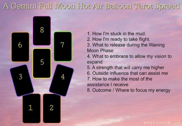 Gemini Full Moon Hot Air Balloon Tarot Spread