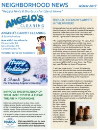 Angelo's Cleaning 2017 Winter Newsletter -ANGELOS CLEANING