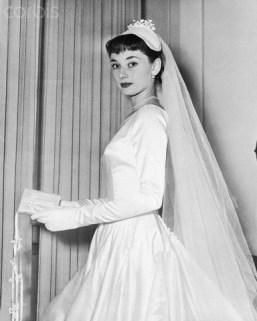 Audrey Hepburn In Her Wedding Gown, 1952. da/from www.corbis.com