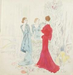 Two Women in Elegant Designer Gowns da/from www.corbis.com