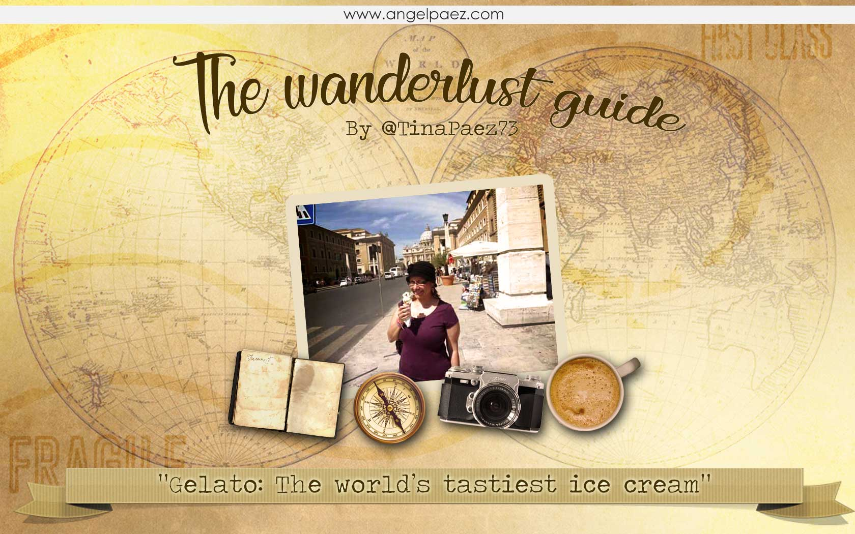 tina paez eating gelato in Italy for the wanderlust guide