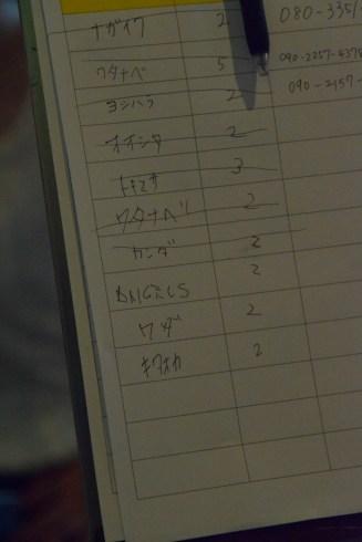 Lista de espera restaurante con mi nombre que apunté junto con los japoneses... ¿Cómo lo pronunciarán?