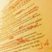 red edits on a manuscript