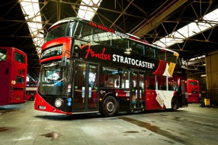 British double decker bus celebrates 60th anniversary of Fender Stratocaster