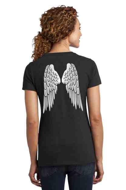 angel wings foundation crew neck t-shirt women back